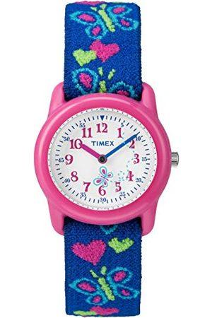Timex Unisex dziecięcy analogowy zegarek kwarcowy z bransoletką z materiału Taśma Butterflies