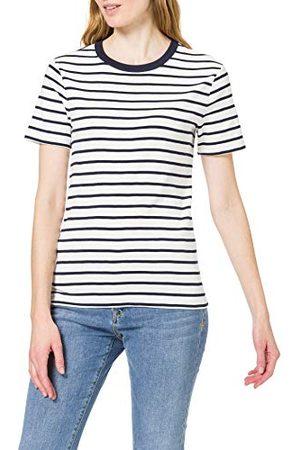 Petit Bateau T-shirt damski, Marshmallow/moking, M