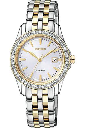 Citizen Zegarek sylwetka kryształowy damski zegarek kwarcowy z białym wyświetlaczem analogowym i dwukolorową pozłacaną bransoletą ze stali nierdzewnej EW1908-59A