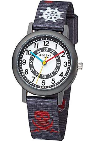 Regent Zegarek na rękę dla chłopców zegarek dla dzieci pirat z paskiem z materiału cyframi arabskimi kwarcowy Pasek