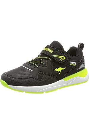 KangaROOS Unisex Kd-res Ev Sneaker, - Jet Black Neon Yellow - 37 eu