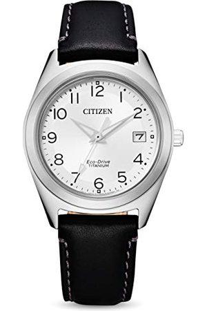 Citizen Damski analogowy zegarek Eco-Drive ze skórzanym paskiem FE6150-18A