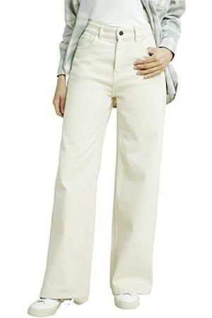 People Tree Damskie spodnie Flora szerokie nogawki, spodnie na co dzień, kremowy, 40 PL