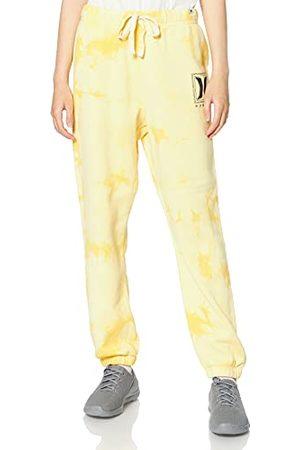 Hurley Damskie W pochmurne nocne krawat barwnik polar spodnie do joggingu na co dzień Mgiełka żółta L
