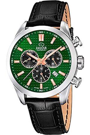 Jaguar J866/3 męski zegarek na rękę z kolekcji Acamar, 43 mm, zielona obudowa z czarną skórzaną bransoletką