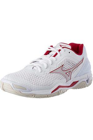 Mizuno Damskie buty do piłki ręcznej Wave Stealth V, biały - Wht Whtsand Persianred - 44 2/3 EU