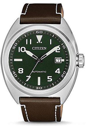 Citizen Męski analogowy automatyczny zegarek ze skórzanym paskiem NJ0100-38X