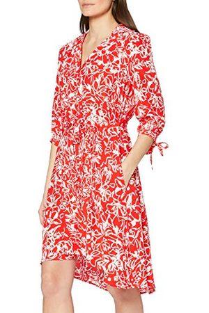 French Connection Damska koszula Fayola Drape Dress Casual, Fiery Red/Suma White, 32 PL
