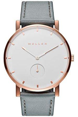 Meller 2R-1GREY analogowy zegarek kwarcowy ze skórzanym paskiem dla dorosłych, uniseks