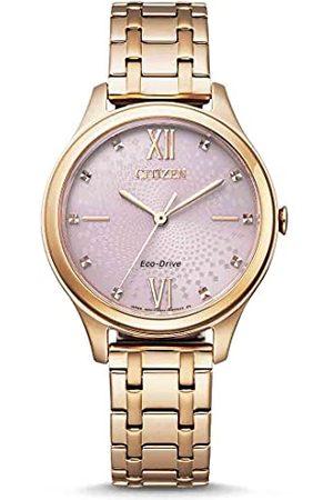 Citizen Damski analogowy Eco-Drive zegarek z bransoletką ze stali szlachetnej EM0503-75X