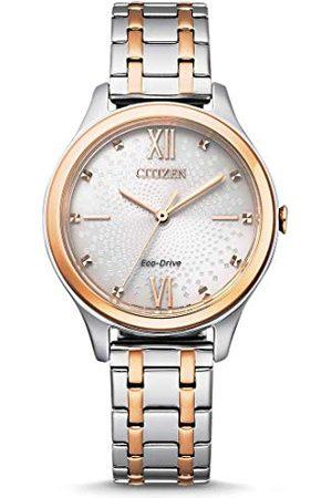 Citizen Damski analogowy zegarek Eco-Drive z bransoletką ze stali szlachetnej EM0506-77A