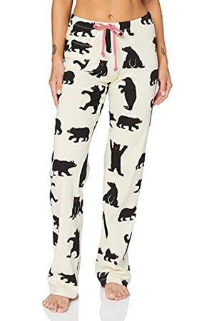 Hatley Damskie spodnie piżamowe – czarne niedźwiedzie na naturalnej piżamie dolnej części