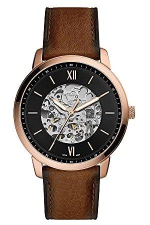 Fossil Męski analogowy zegarek automatyczny ze skórzanym paskiem ME3195