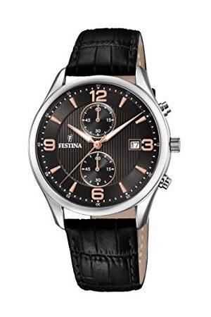 Festina Męski chronograf kwarcowy zegarek ze skórzanym paskiem F6855/7