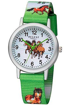 Regent Dziewczynka Zegarki - Zegarek dla dzieci zegarek dla dziewczynki z motywem konia pasek tekstylny cyfry arabskie aluminium kwarcowy Pasek srebrno