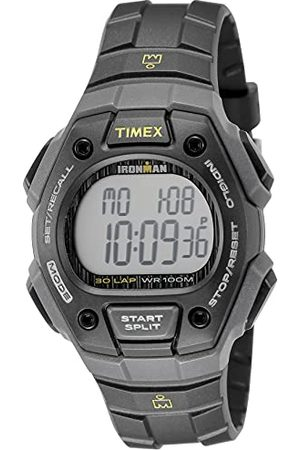Timex Zegarek kwarcowy unisex z cyferblatem LCD, wyświetlaczem cyfrowym i czarnym paskiem z żywicy syntetycznej. Taśma