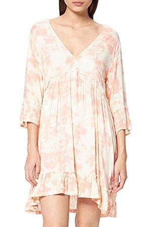 Hurley Damska sukienka w kształcie litery A z długim rękawem Koralowy migdały marzycielski batikowy L