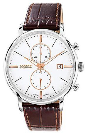 DUGENA Festa Chrono męski zegarek na rękę, chronograf, obudowa ze stali szlachetnej, szafirowe szkło, pasek skórzany, sprzączka, 5 bar Pasek /