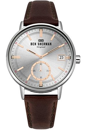 Ben Sherman Męski data klasyczny zegarek kwarcowy ze skórzanym paskiem WB071SBR