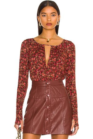 Free People Kaya Printed Bodysuit in - Burgundy. Size L (also in M, S, XS).