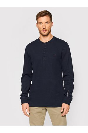 Tommy Hilfiger Sweter Casual Henley MW0MW20156 Granatowy Relaxed Fit
