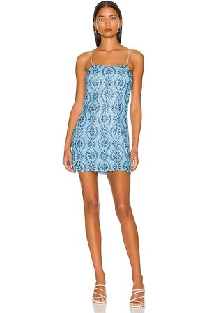 Free People Retro Babe Sparkle Mini Dress in - Blue. Size L (also in XS, S, M).