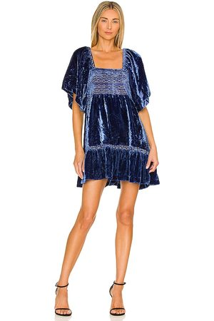 Free People Easy To Love Mini Dress in - Royal. Size L (also in XS, S, M).