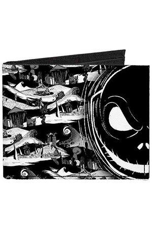 Buckle Klamra w dół - podwójnie składany portfel - zapinany płócienny bifold portfel - koszmar przed Bożym Narodzeniem męski