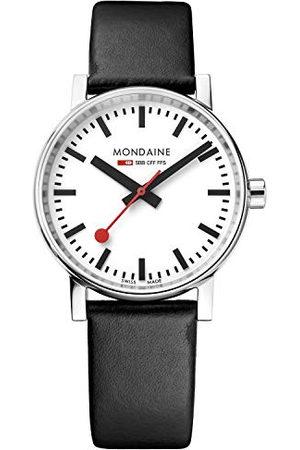 Mondaine Męski zegarek evo2 35 mm szafirowy z polerowaną stalą obudowa biała tarcza i czarny skórzany pasek MSE.35110.LB