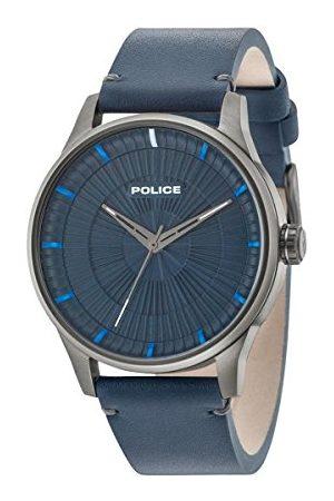 Police Męski data klasyczny zegarek kwarcowy ze skórzanym paskiem 15038JSU/03
