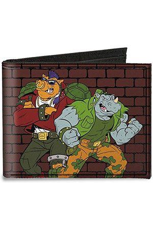 Buckle Klamra puchowa uniseks płótno dwukrotnie składany portfel - Rocksteady & Bebop Pose + logo Tmnt /