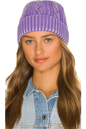 Free People Stormi Washed Cable Beanie in - Purple. Size all.