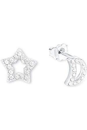 Amor Damskie kolczyki na sztyfcie, gwiazda/księżyc, srebro 925, rodowane, cyrkonia biała