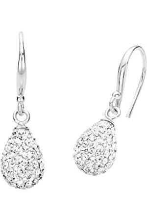 Amor Kolczyki damskie 2,7 cm krople srebro 925 wysokiej próby rodowane kryształ biały